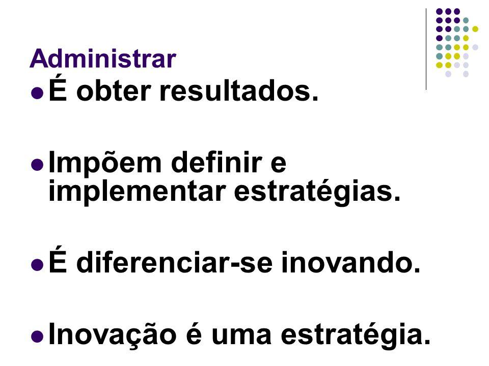 Administrar É obter resultados. Impõem definir e implementar estratégias. É diferenciar-se inovando. Inovação é uma estratégia.