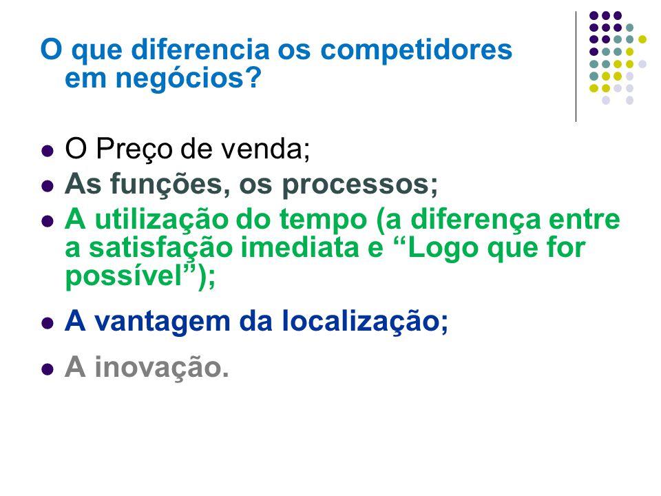 O que diferencia os competidores em negócios? O Preço de venda; As funções, os processos; A utilização do tempo (a diferença entre a satisfação imedia