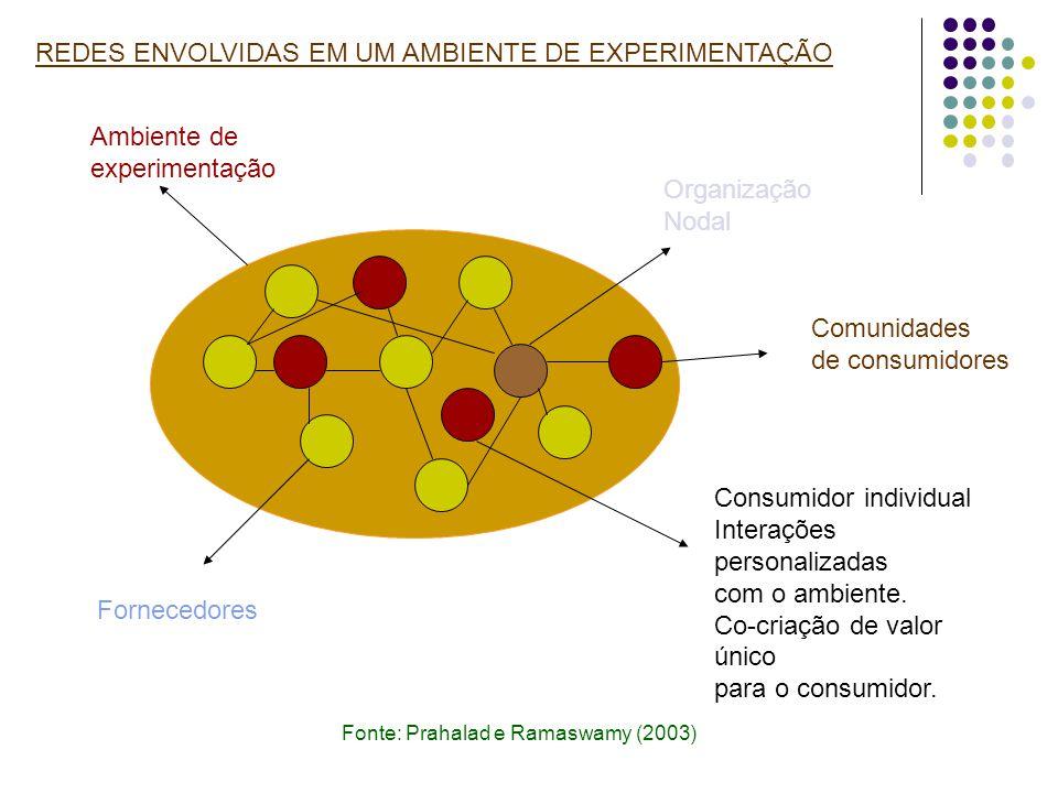 REDES ENVOLVIDAS EM UM AMBIENTE DE EXPERIMENTAÇÃO Fonte: Prahalad e Ramaswamy (2003) Fornecedores Ambiente de experimentação Consumidor individual Int