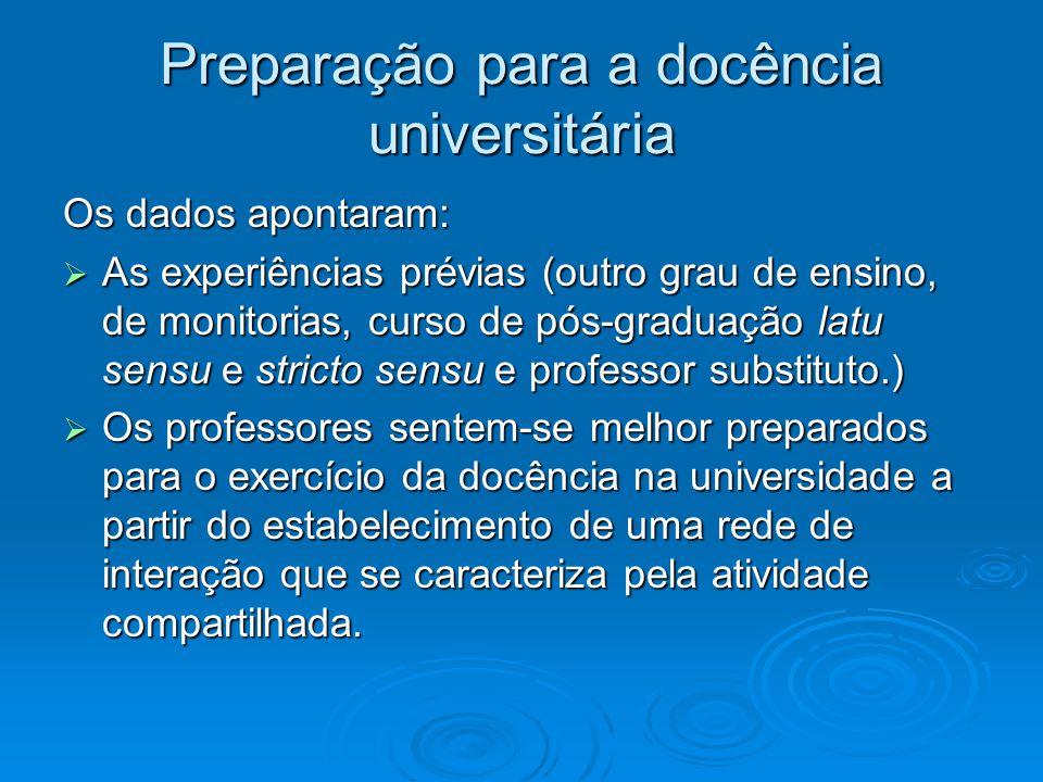 Preparação para a docência universitária Os dados apontaram: As experiências prévias (outro grau de ensino, de monitorias, curso de pós-graduação latu