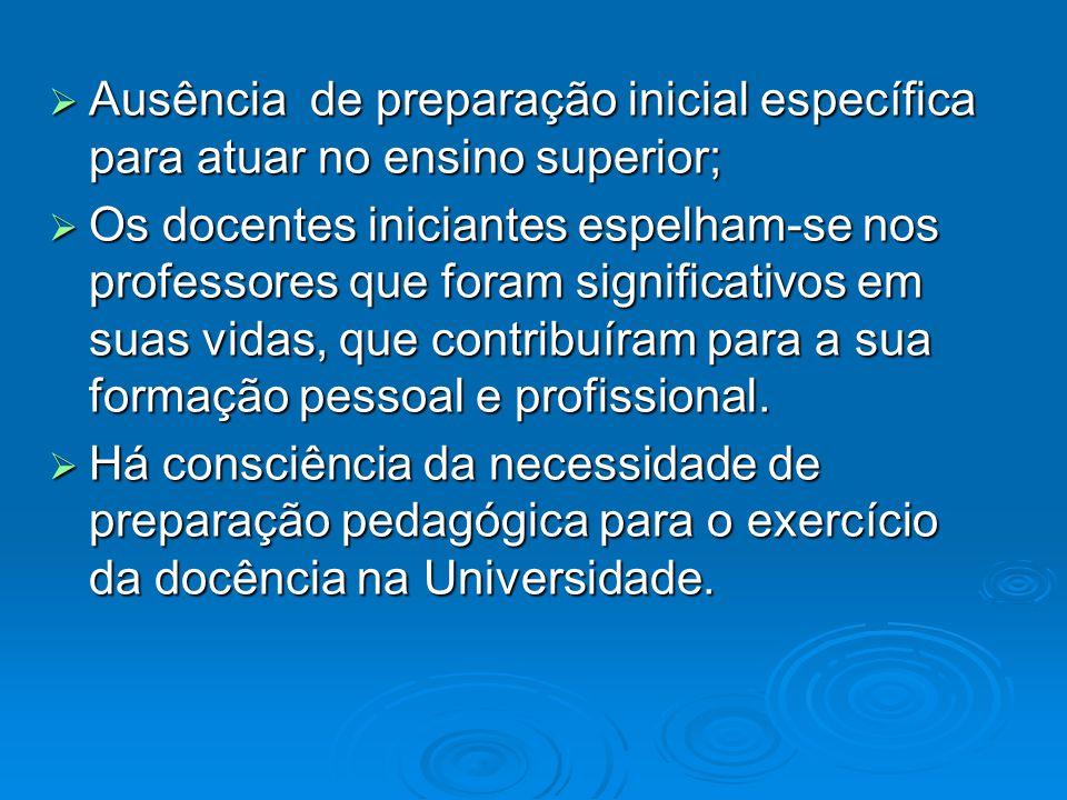 Ausência de preparação inicial específica para atuar no ensino superior; Ausência de preparação inicial específica para atuar no ensino superior; Os d