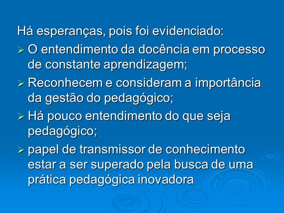 Há esperanças, pois foi evidenciado: O entendimento da docência em processo de constante aprendizagem; O entendimento da docência em processo de const