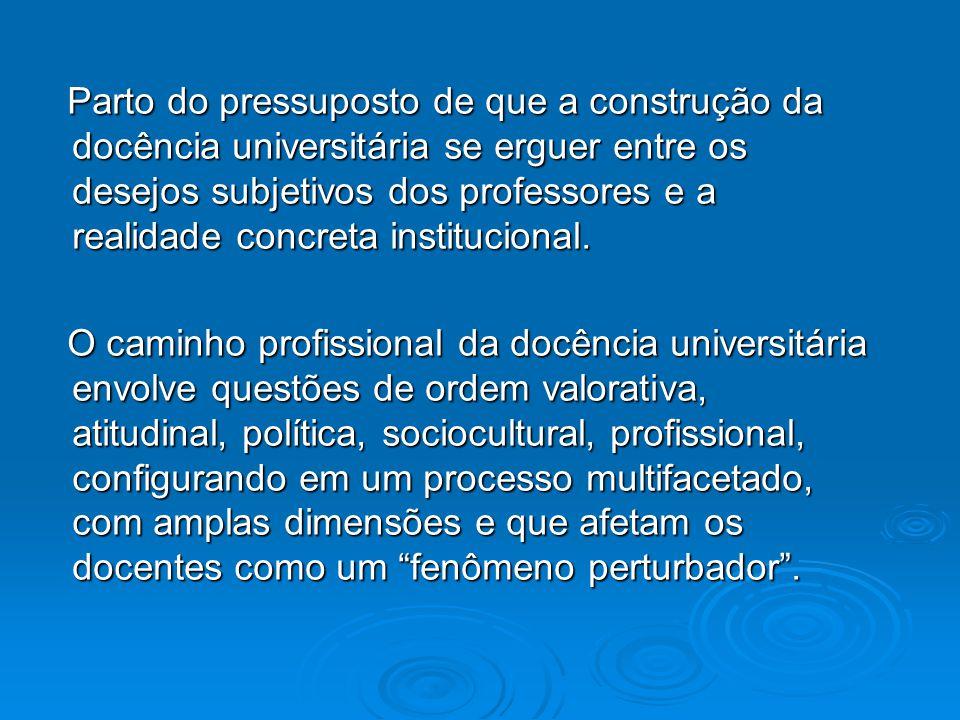 Parto do pressuposto de que a construção da docência universitária se erguer entre os desejos subjetivos dos professores e a realidade concreta instit
