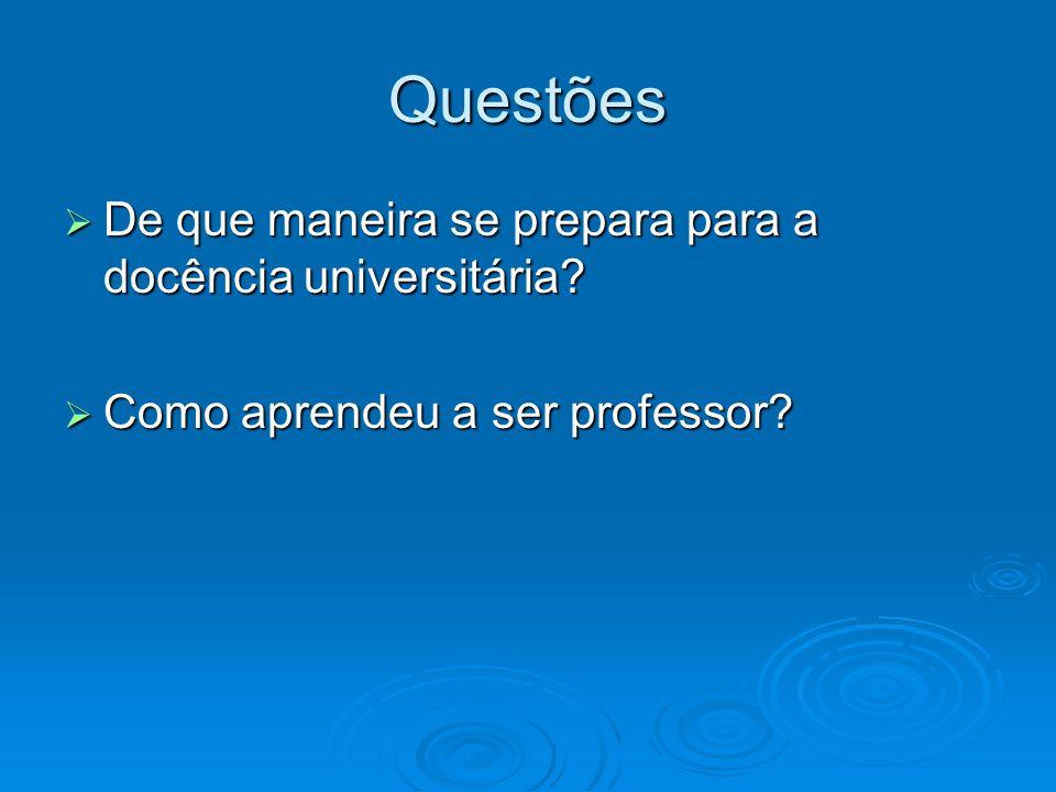 Questões De que maneira se prepara para a docência universitária? De que maneira se prepara para a docência universitária? Como aprendeu a ser profess
