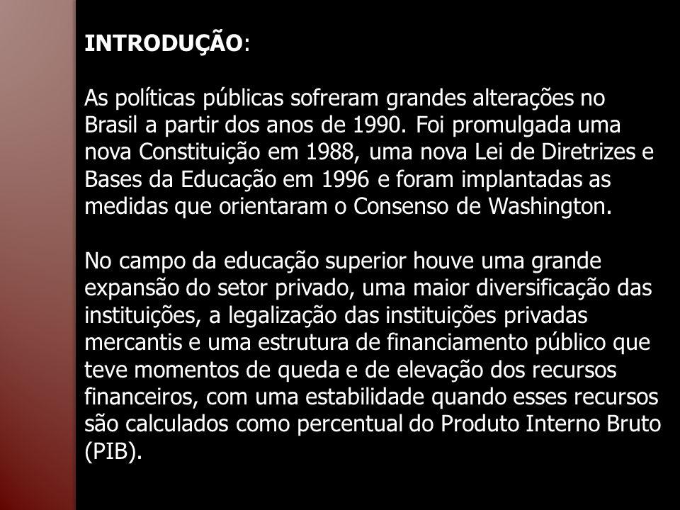 INTRODUÇÃO: As políticas públicas sofreram grandes alterações no Brasil a partir dos anos de 1990. Foi promulgada uma nova Constituição em 1988, uma n