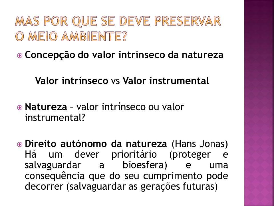 Concepção do valor intrínseco da natureza Valor intrínseco vs Valor instrumental Natureza – valor intrínseco ou valor instrumental? Direito autónomo d
