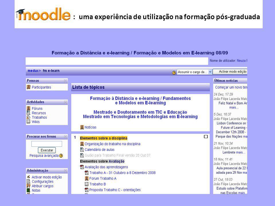Moodle : uma experiência de utilização na formação pós-graduada