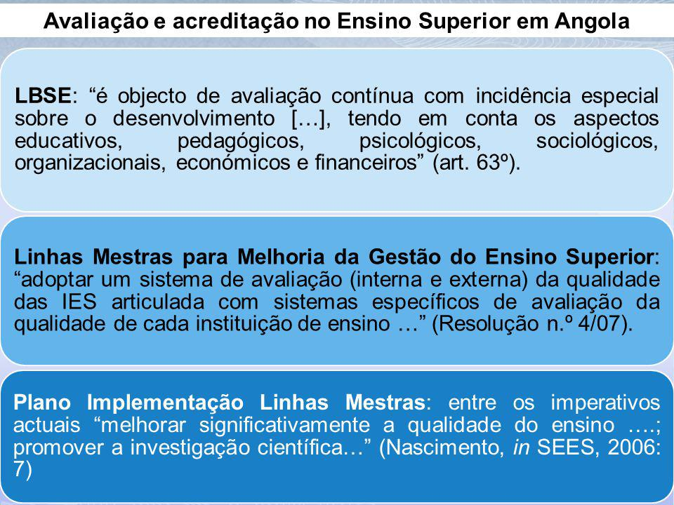 Avaliação e acreditação no Ensino Superior em Angola LBSE: é objecto de avaliação contínua com incidência especial sobre o desenvolvimento […], tendo em conta os aspectos educativos, pedagógicos, psicológicos, sociológicos, organizacionais, económicos e financeiros (art.