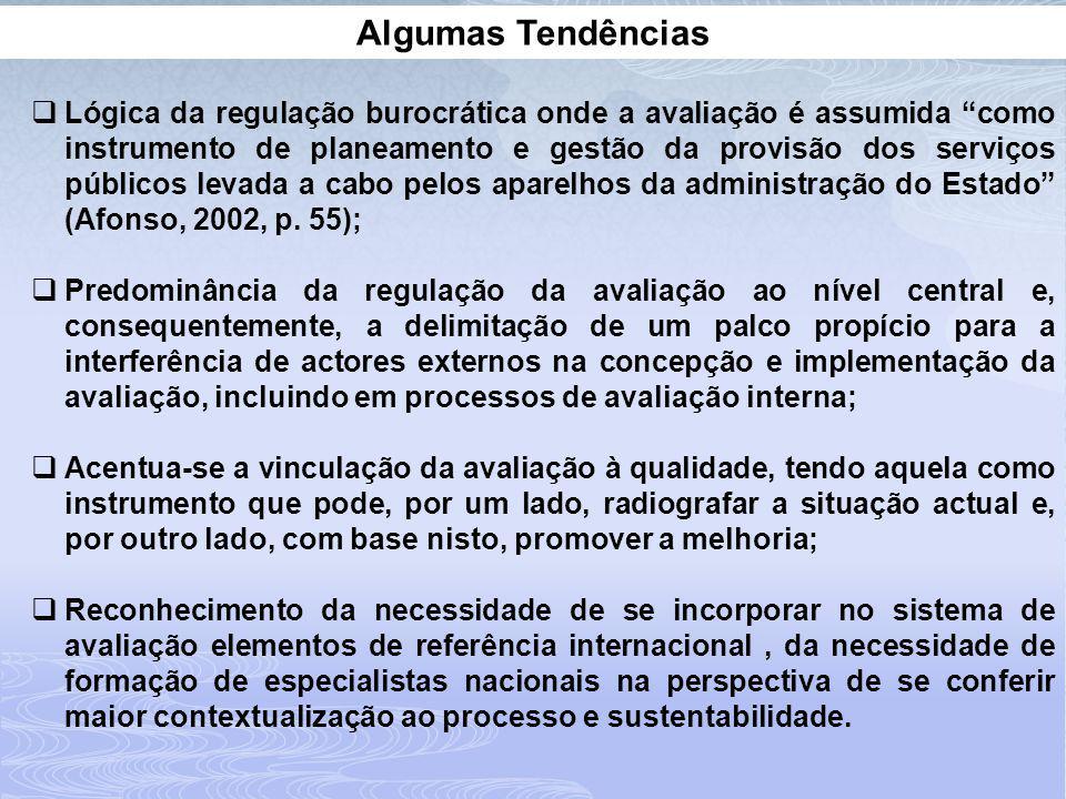 Algumas Tendências Lógica da regulação burocrática onde a avaliação é assumida como instrumento de planeamento e gestão da provisão dos serviços públicos levada a cabo pelos aparelhos da administração do Estado (Afonso, 2002, p.