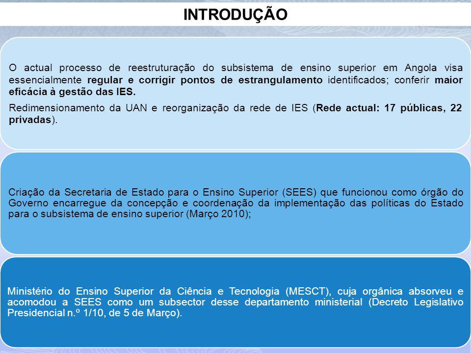 INTRODUÇÃO O actual processo de reestruturação do subsistema de ensino superior em Angola visa essencialmente regular e corrigir pontos de estrangulamento identificados; conferir maior eficácia à gestão das IES.