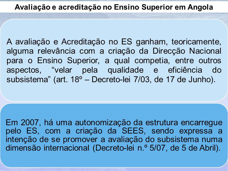 Avaliação e acreditação no Ensino Superior em Angola A avaliação e Acreditação no ES ganham, teoricamente, alguma relevância com a criação da Direcção Nacional para o Ensino Superior, a qual competia, entre outros aspectos, velar pela qualidade e eficiência do subsistema (art.