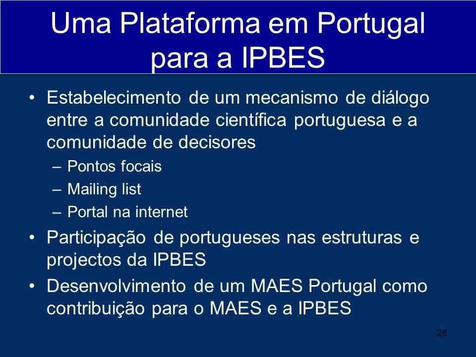 Uma Plataforma em Portugal para a IPBES Estabelecimento de um mecanismo de diálogo entre a comunidade científica portuguesa e a comunidade de decisores –Pontos focais –Mailing list –Portal na internet Participação de portugueses nas estruturas e projectos da IPBES Desenvolvimento de um MAES Portugal como contribuição para o MAES e a IPBES 26