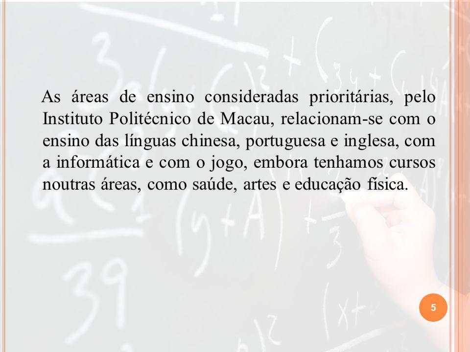 As áreas de ensino consideradas prioritárias, pelo Instituto Politécnico de Macau, relacionam-se com o ensino das línguas chinesa, portuguesa e inglesa, com a informática e com o jogo, embora tenhamos cursos noutras áreas, como saúde, artes e educação física.