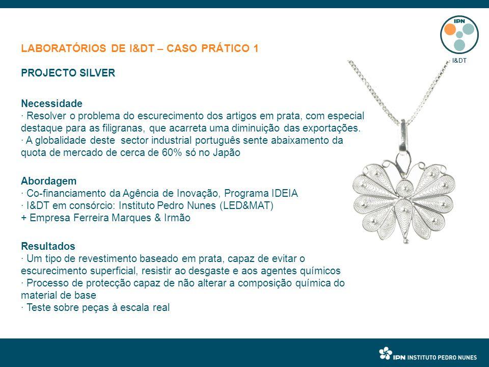 LABORATÓRIOS DE I&DT – CASO PRÁTICO 1 PROJECTO SILVER Necessidade · Resolver o problema do escurecimento dos artigos em prata, com especial destaque para as filigranas, que acarreta uma diminuição das exportações.