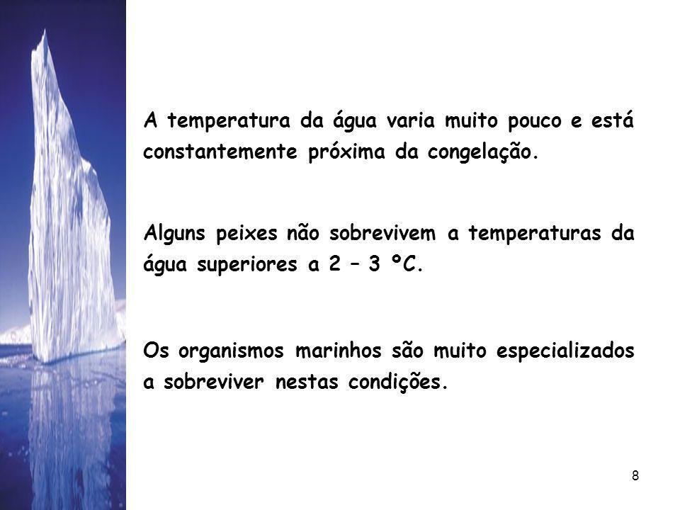 08/06/20148 A temperatura da água varia muito pouco e está constantemente próxima da congelação.