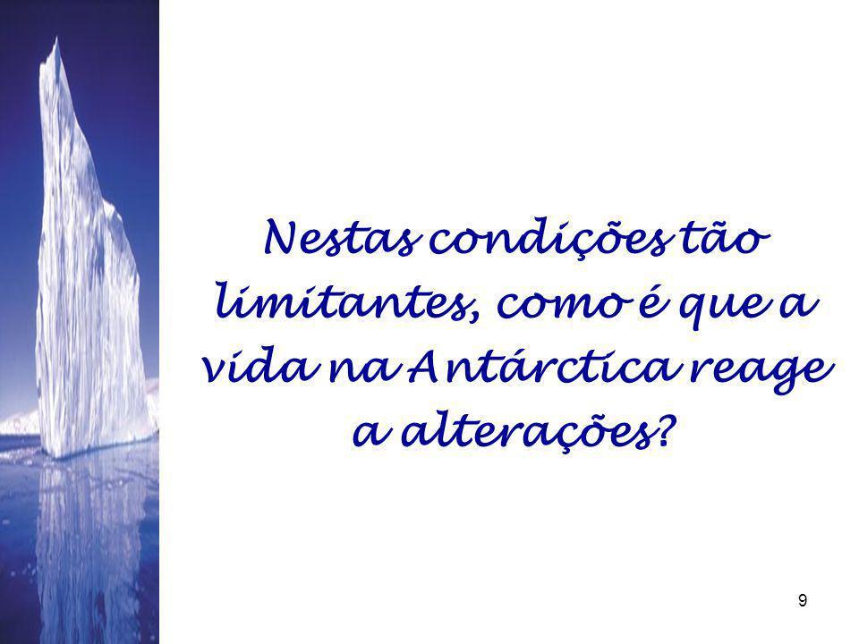 08/06/20149 Nestas condições tão limitantes, como é que a vida na Antárctica reage a alterações