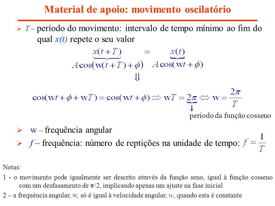 Material de apoio: movimento oscilatório T – período do movimento: intervalo de tempo mínimo ao fim do qual x(t) repete o seu valor w – frequência ang