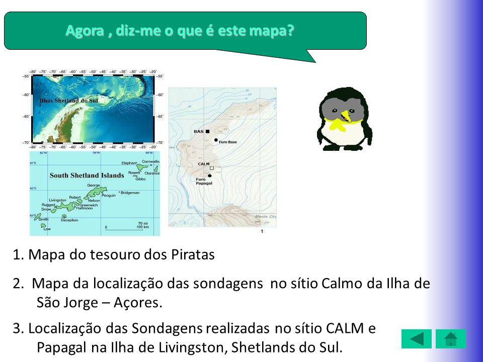 Agora, diz-me o que é este mapa? 1. Mapa do tesouro dos Piratas 2. Mapa da localização das sondagens no sítio Calmo da Ilha de São Jorge – Açores. 3.