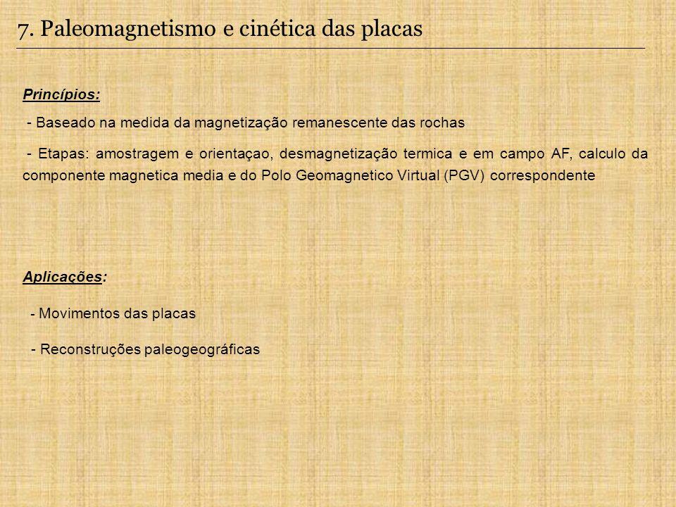7. Paleomagnetismo e cinética das placas Aplicações: - Movimentos das placas - Reconstruções paleogeográficas Princípios: - Baseado na medida da magne