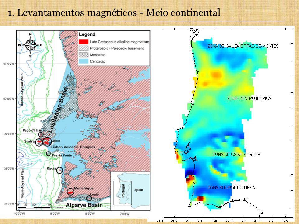 1. Levantamentos magnéticos - Meio continental Levantamento Aeromagnético de Portugal Continental. Sobreposição entre as anomalias magnéticas e as uni