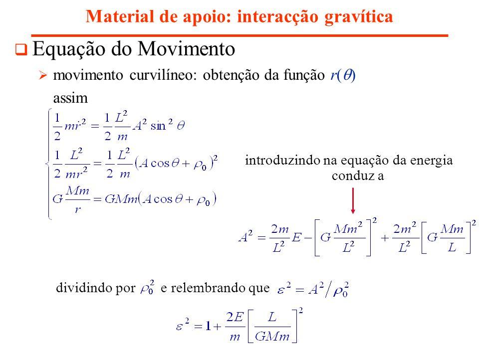 Material de apoio: interacção gravítica Equação do Movimento movimento curvilíneo: obtenção da função r( ) assim introduzindo na equação da energia conduz a dividindo por e relembrando que