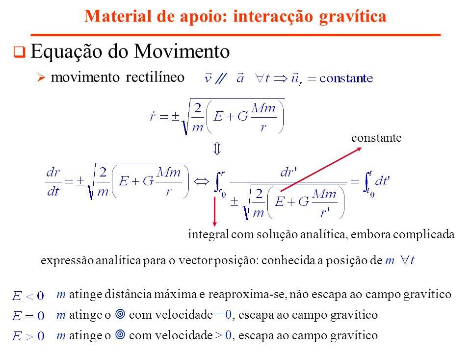 Material de apoio: interacção gravítica Equação do Movimento movimento rectilíneo integral com solução analítica, embora complicada expressão analítica para o vector posição: conhecida a posição de m constante m atinge distância máxima e reaproxima-se, não escapa ao campo gravítico m atinge o com velocidade = 0, escapa ao campo gravítico m atinge o com velocidade > 0, escapa ao campo gravítico