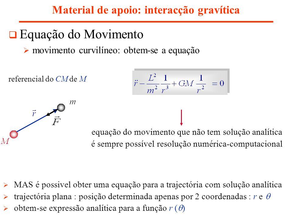 Material de apoio: interacção gravítica Leis de Kepler 2ª Lei : o vector, definido pelo sol e planeta, varre áreas iguais em intervalos de tempo iguais área varrida por em dt área do triângulo rectângulo: ângulo recto em P constante do movimento taxa de varrimento é constante porque d é infinitesimal planeta