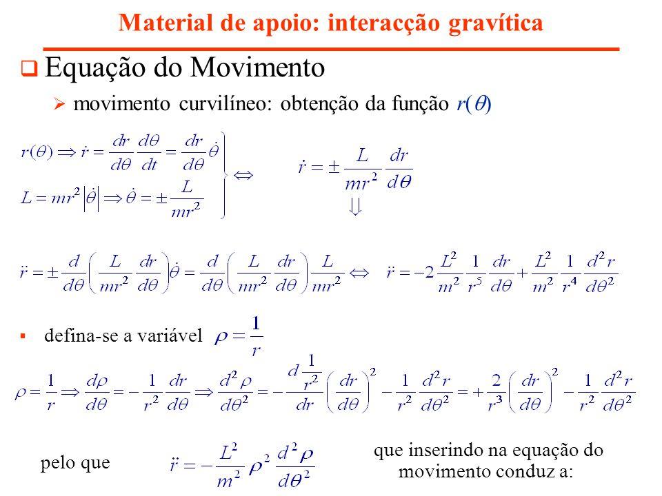 Material de apoio: interacção gravítica Equação do Movimento movimento curvilíneo: obtenção da função r( ) defina-se a variável pelo que que inserindo na equação do movimento conduz a: