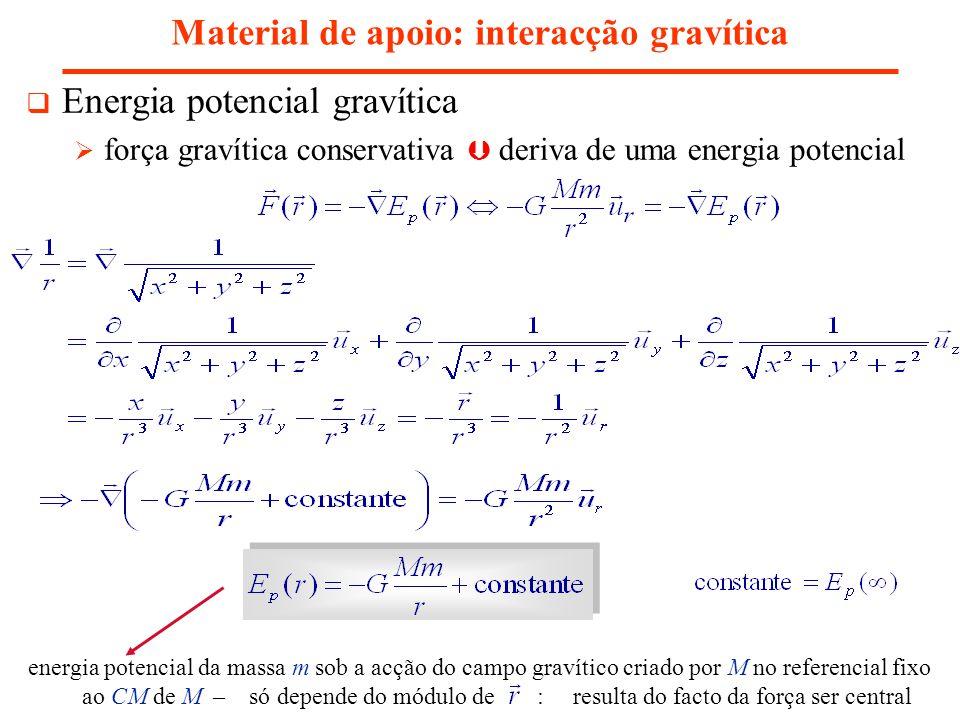 Material de apoio: interacção gravítica Energia potencial gravítica força gravítica conservativa deriva de uma energia potencial energia potencial da