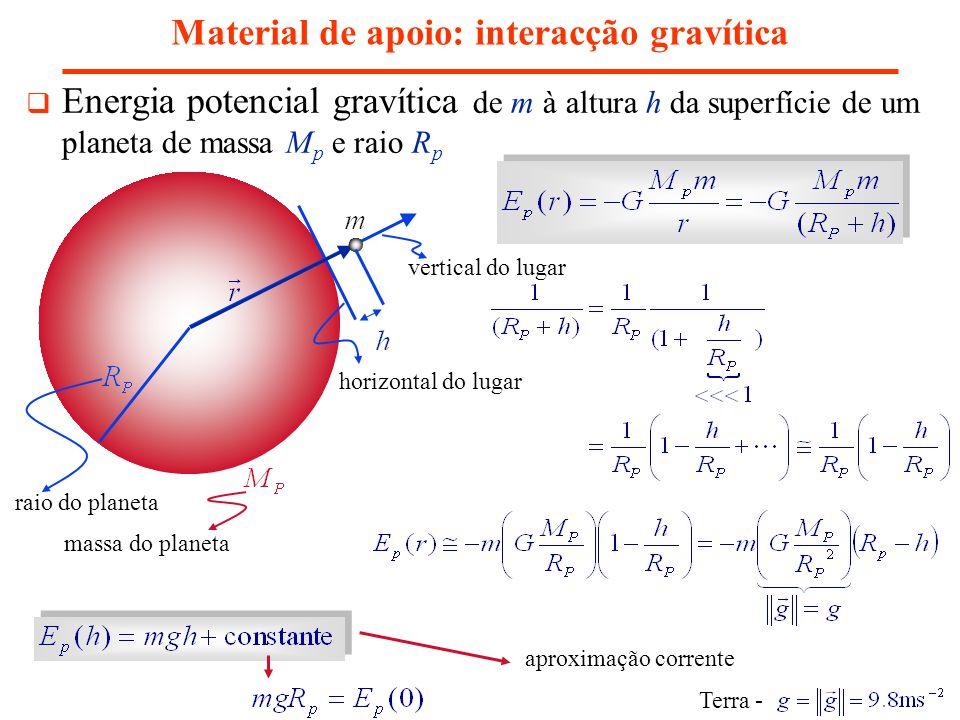 Material de apoio: interacção gravítica Energia potencial gravítica de m à altura h da superfície de um planeta de massa M p e raio R p aproximação co