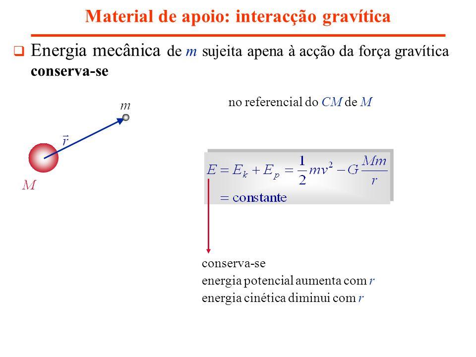 Material de apoio: interacção gravítica Energia mecânica de m sujeita apena à acção da força gravítica conserva-se no referencial do CM de M conserva-