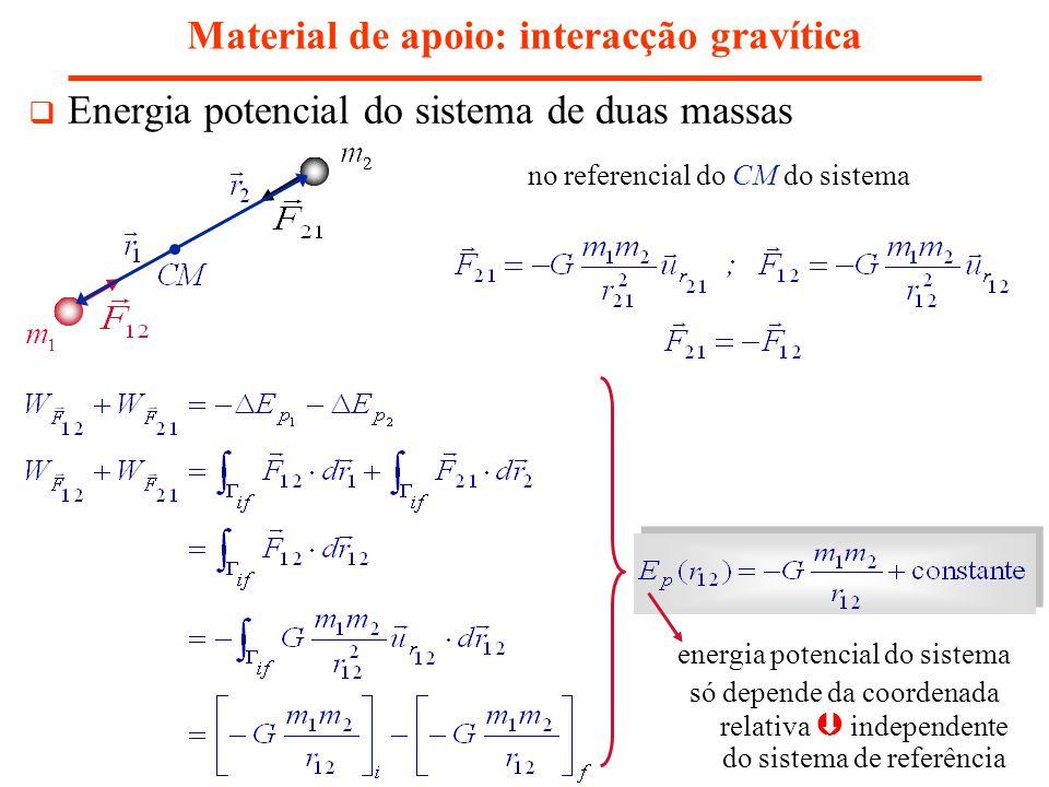 Material de apoio: interacção gravítica Energia potencial do sistema de duas massas energia potencial do sistema só depende da coordenada relativa ind