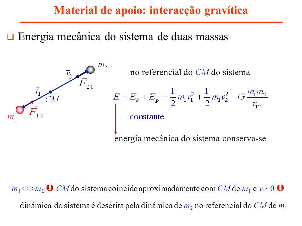 Material de apoio: interacção gravítica Energia mecânica do sistema de duas massas energia mecânica do sistema conserva-se no referencial do CM do sis