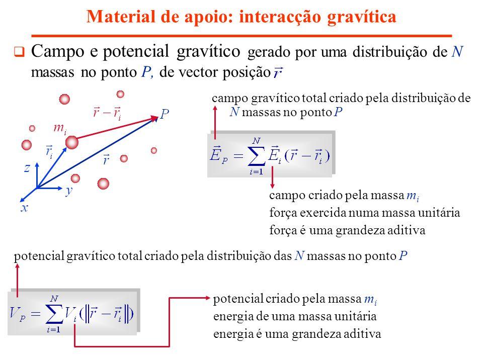 Material de apoio: interacção gravítica Campo e potencial gravítico gerado por uma distribuição de N massas no ponto P, de vector posição campo criado