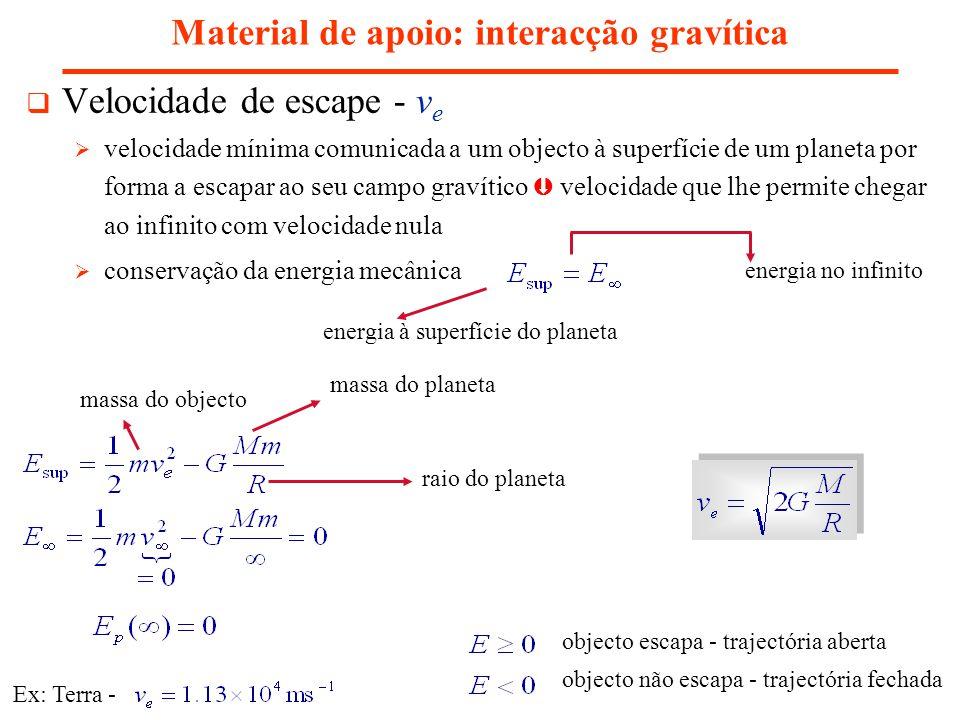 Material de apoio: interacção gravítica Velocidade de escape - v e velocidade mínima comunicada a um objecto à superfície de um planeta por forma a es