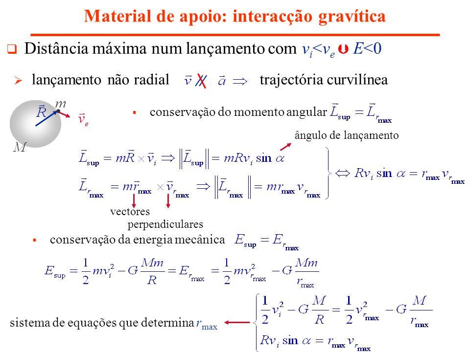Material de apoio: interacção gravítica Distância máxima num lançamento com v i <v e E<0 lançamento não radial trajectória curvilínea conservação do m
