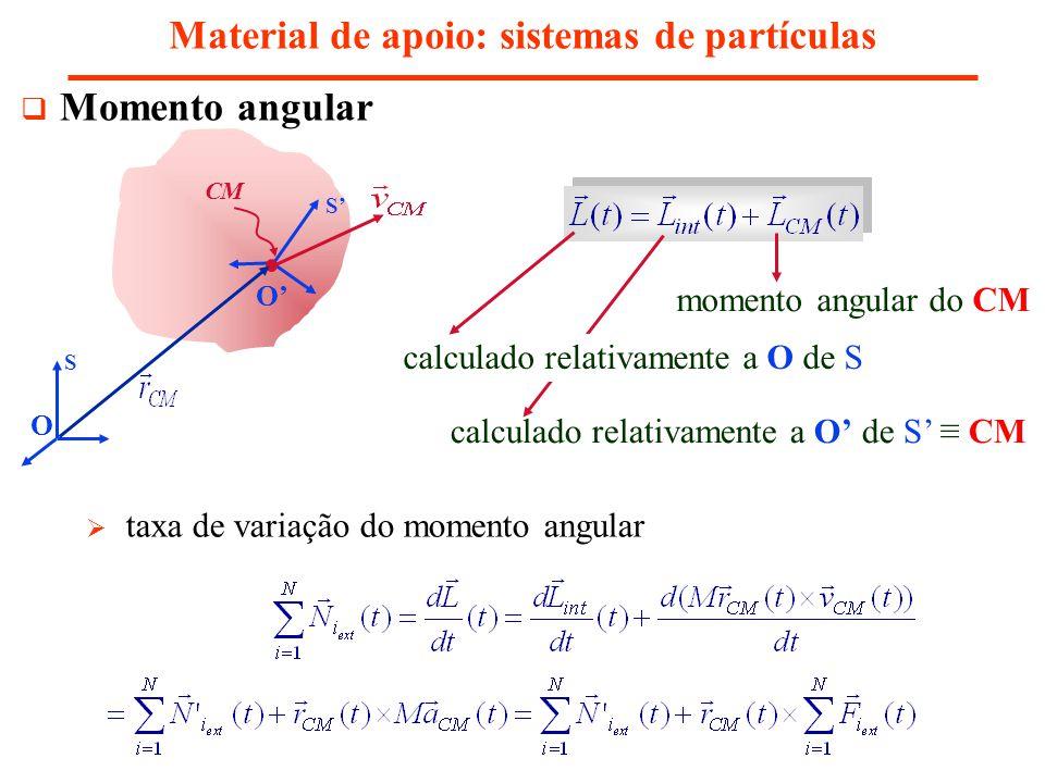 calculado relativamente a O de S CM Momento angular Material de apoio: sistemas de partículas S S CM O O momento angular do CM calculado relativamente