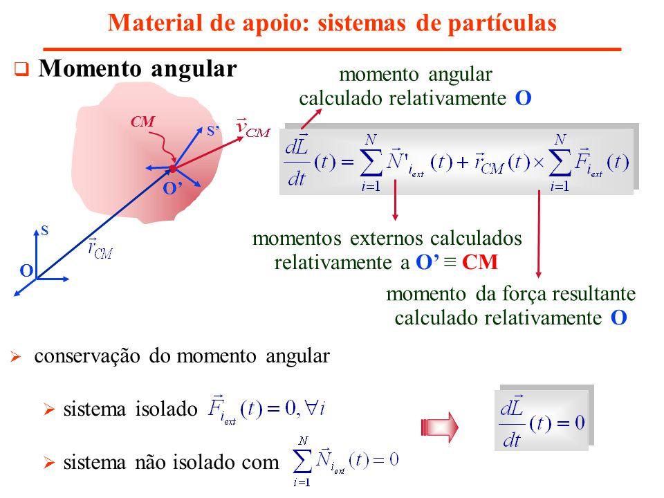 Momento angular Material de apoio: sistemas de partículas S S CM O O momentos externos calculados relativamente a O CM momento da força resultante cal