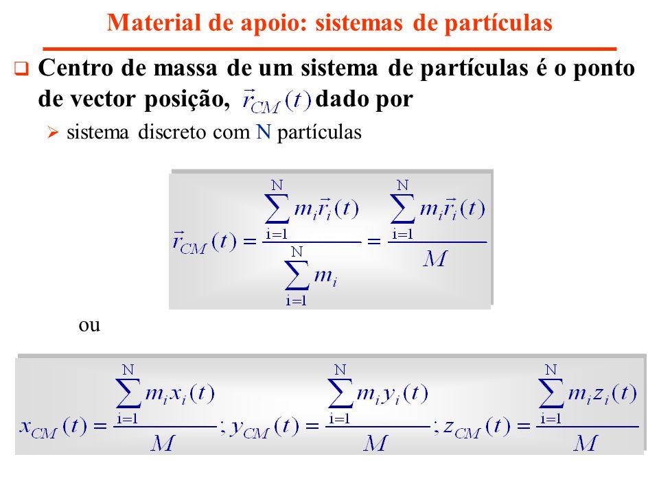 Material de apoio: sistemas de partículas Centro de massa de um sistema de partículas é o ponto de vector posição, dado por sistema discreto com N par