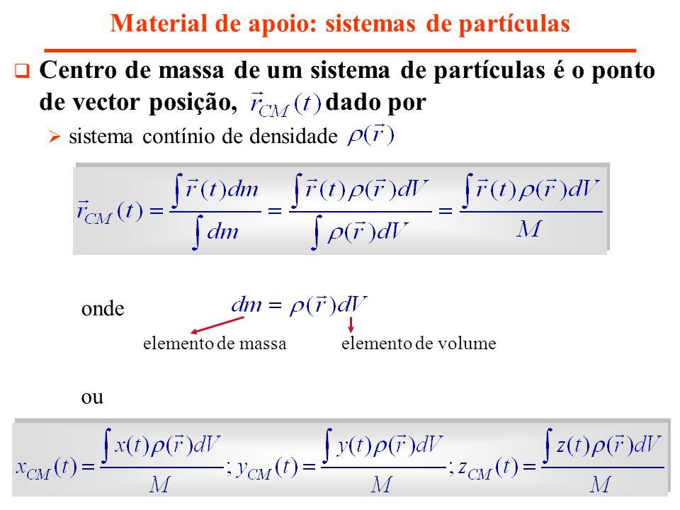 Material de apoio: sistemas de partículas Centro de massa de um sistema de partículas é o ponto de vector posição, dado por sistema contínio de densid
