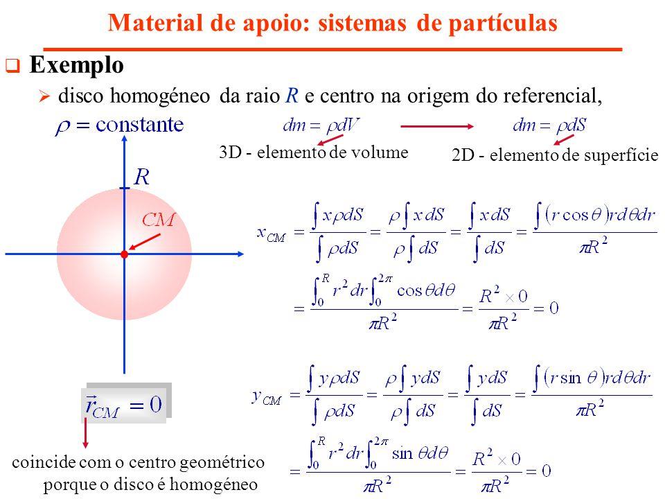 Material de apoio: sistemas de partículas Exemplo disco homogéneo da raio R e centro na origem do referencial, 3D - elemento de volume 2D - elemento d