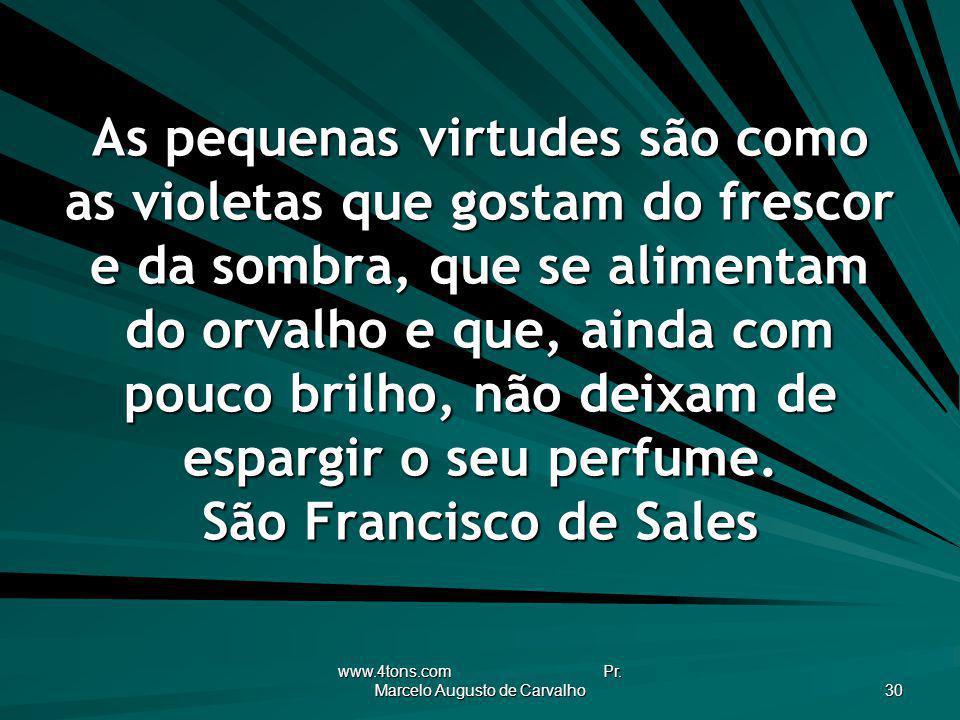 www.4tons.com Pr. Marcelo Augusto de Carvalho 30 As pequenas virtudes são como as violetas que gostam do frescor e da sombra, que se alimentam do orva