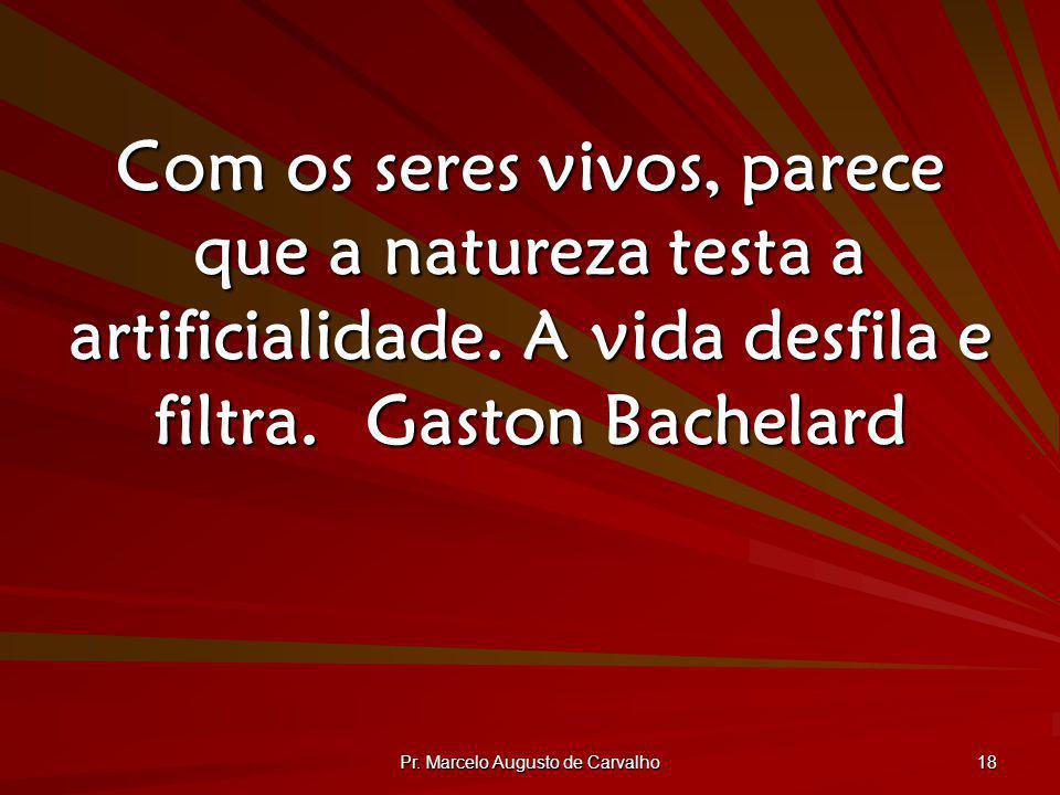 Pr. Marcelo Augusto de Carvalho 18 Com os seres vivos, parece que a natureza testa a artificialidade. A vida desfila e filtra.Gaston Bachelard