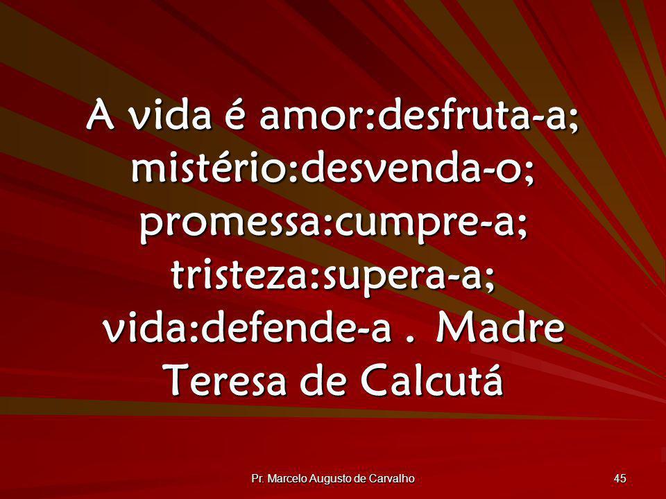 Pr. Marcelo Augusto de Carvalho 45 A vida é amor:desfruta-a; mistério:desvenda-o; promessa:cumpre-a; tristeza:supera-a; vida:defende-a.Madre Teresa de