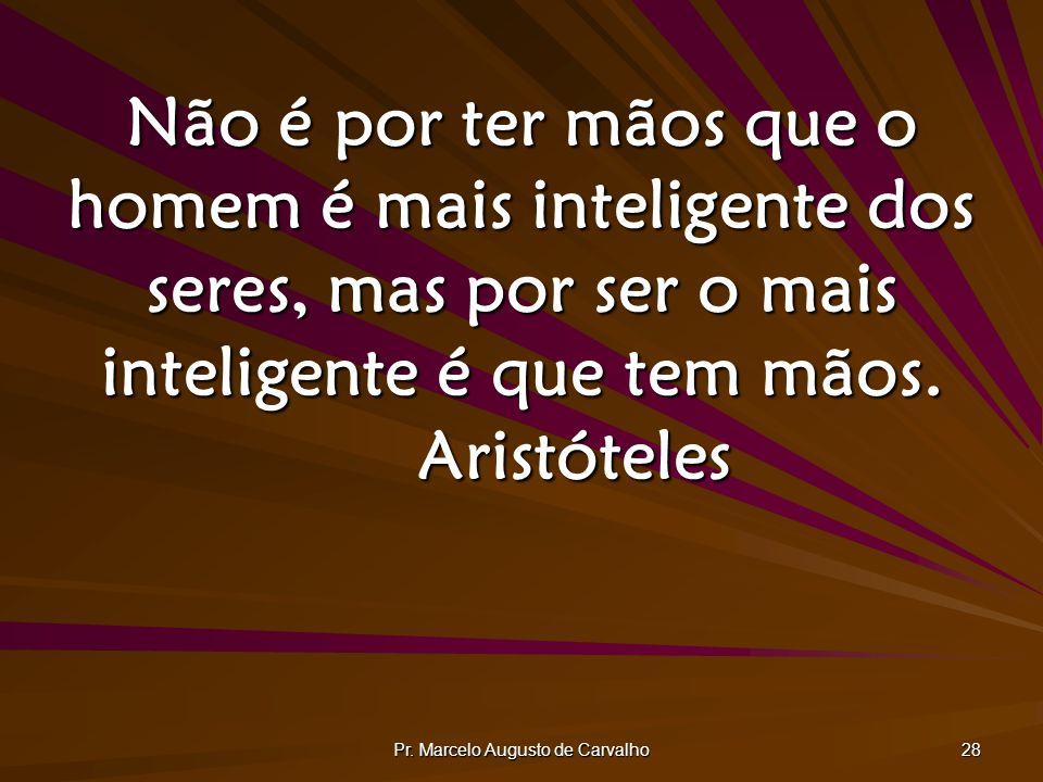 Pr. Marcelo Augusto de Carvalho 28 Não é por ter mãos que o homem é mais inteligente dos seres, mas por ser o mais inteligente é que tem mãos. Aristót
