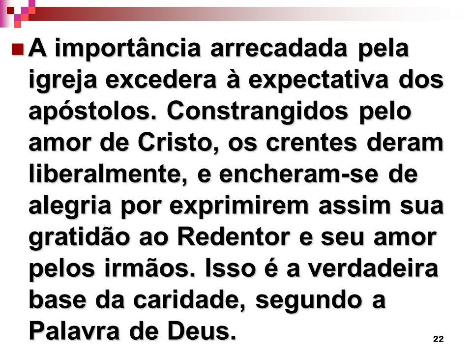 22 A importância arrecadada pela igreja excedera à expectativa dos apóstolos. Constrangidos pelo amor de Cristo, os crentes deram liberalmente, e ench