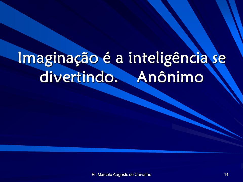Pr. Marcelo Augusto de Carvalho 14 Imaginação é a inteligência se divertindo.Anônimo