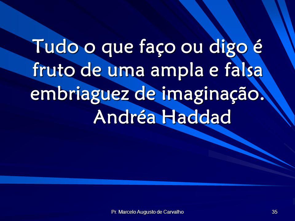 Pr. Marcelo Augusto de Carvalho 35 Tudo o que faço ou digo é fruto de uma ampla e falsa embriaguez de imaginação. Andréa Haddad