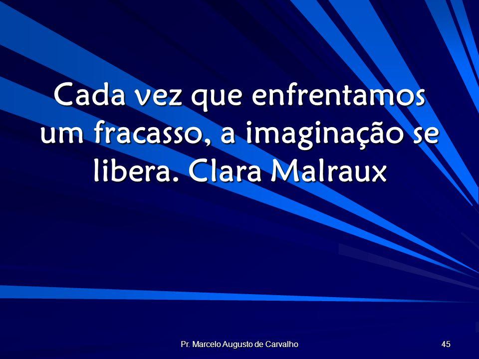 Pr. Marcelo Augusto de Carvalho 45 Cada vez que enfrentamos um fracasso, a imaginação se libera.Clara Malraux