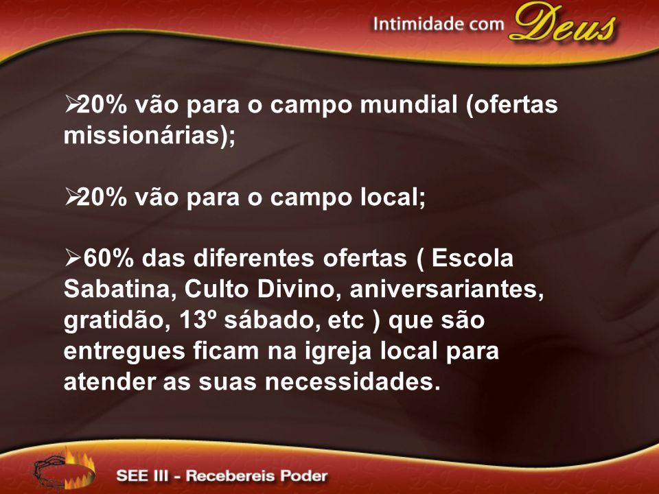 20% vão para o campo mundial (ofertas missionárias); 20% vão para o campo local; 60% das diferentes ofertas ( Escola Sabatina, Culto Divino, aniversar